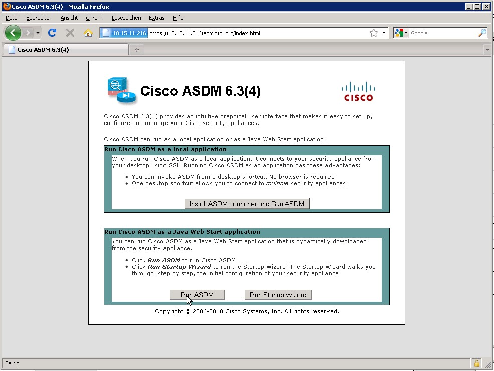 Access ASDM